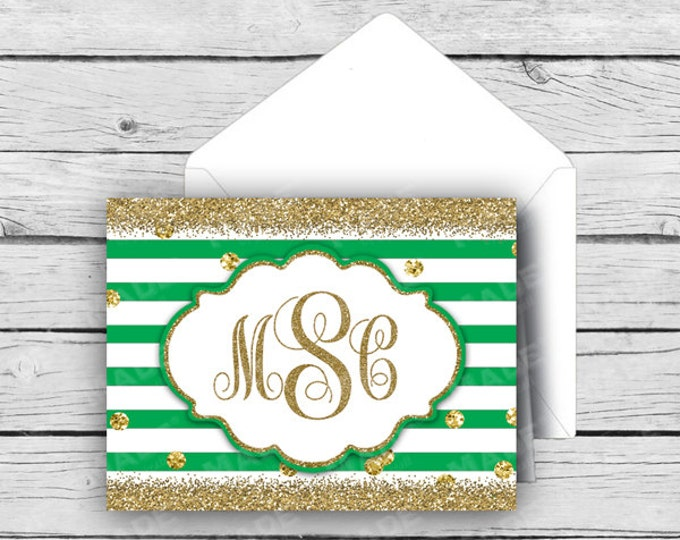 GLITTER SCRIPT MONOGRAM Note Card Set - Kelly Green, Stationery, Printed Stationery, Thank You Cards
