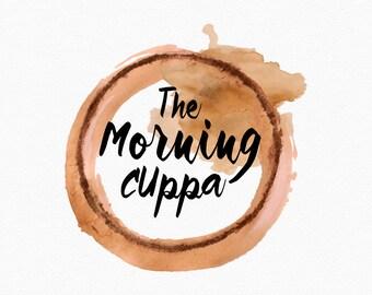 Coffee Ring Logo Design , Tea Ring , Coffee Stain , Tea Stain ,  Watercolour Stain , Coffee Lover , Blog Header , Tea Logo, Coffee Logo