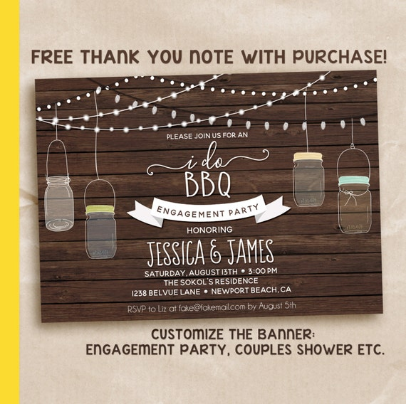 I DO BBQ Invitation Printable, Couples Shower BBQ, Digital File - Engagement Party, Couples Shower Invitation