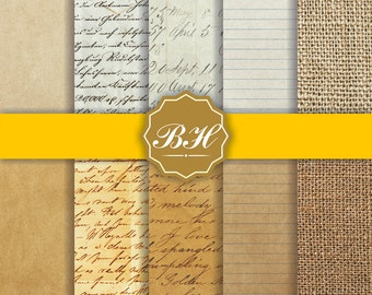 Old Paper Digital Paper, Old Paper Textures, Vintage Digital Paper, Yellowed Paper, Paper Backgrounds, Commercial Use
