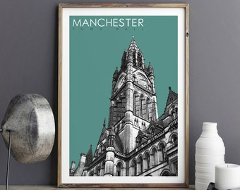 Travel Poster - Manchester Art Print - City Prints - Manchester Town Hall - Travel Gift - Large Wall Art Prints - Giclee