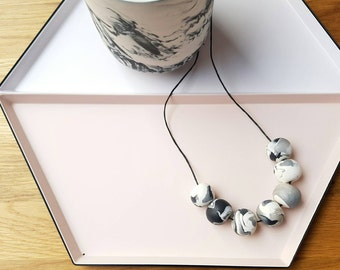 Handmade polymer clay beaded necklace- black, silver and white marbled