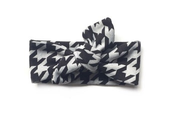 Baby Black and Grey Houndstooth Top Knot Headband
