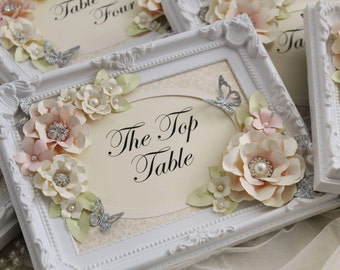Pink and silver table names, table numbers, wedding decoration signs, personlise your words, butterfly wedding