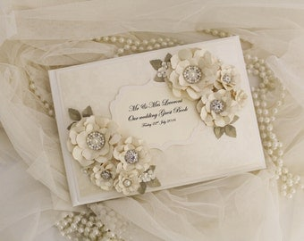 Ivory and gold classic style wedding guest book . wedding gift , ivory wedding decoration