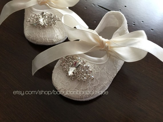 baby baptism shoes baby crib shoes baby by BabyBonbonBoutique