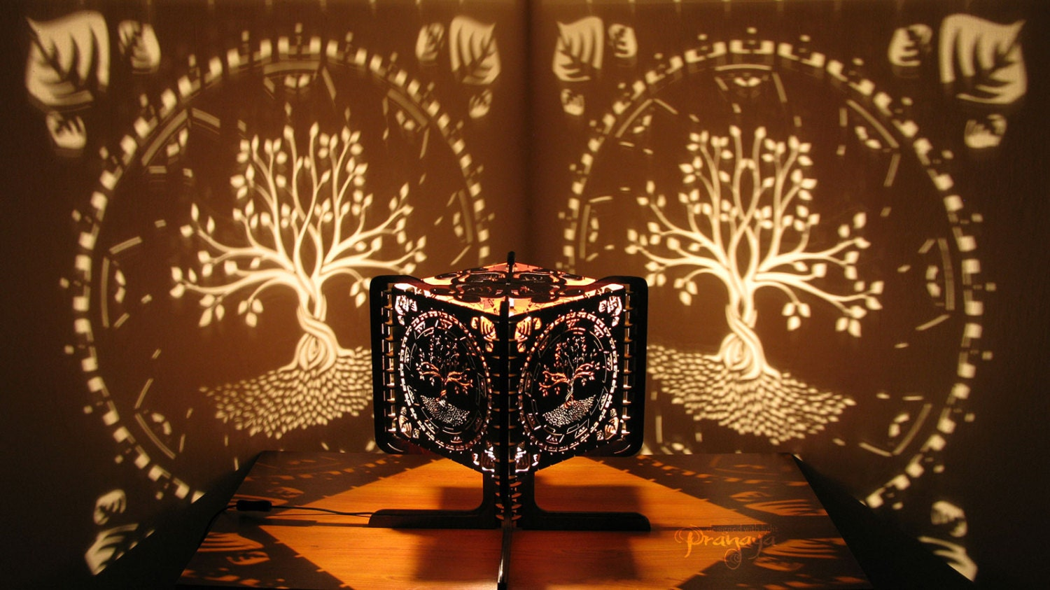 Shadow Lamps Decorative Ambient Lasercut Wooden Tree Of Life Shadow Lamp