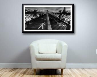 NYC Photography, Brooklyn Bridge at Night, Manhattan Cityscape, New York City, Panoramic NYC Photo