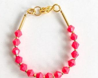 Stacking bracelet - Baby Bracelet - toddler bracelet - baby girl jewelry- pink bracelet - summer bracelet - black and white bracelet