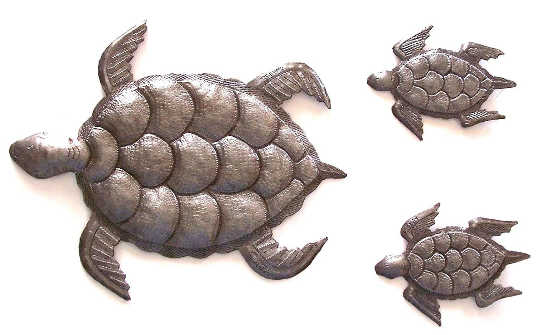 Beach Metal Wall Art Part - 25: Sea Turtle, Set Of 3, Swimming Left, Ocean, Beach, Metal Wall Art, Recycled  Steel Haiti (large Turtle 12 X 10 / Mini Turtles 5.5 X 4)