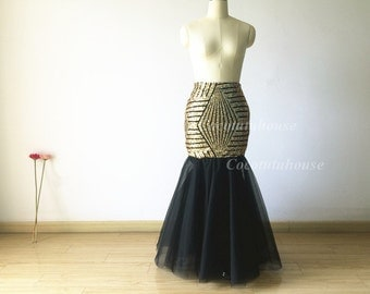 Gold Sequins & Tulle Maxi Tulle Skirt/Mermaid Sequins TUlle skirt/Adult Women Fishtail Skirt//Wedding Dress/Bridesmaid/Bachelorette Skirt