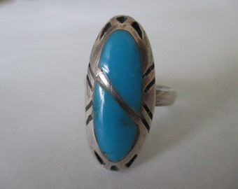 Native American Sterling Silver Inlaid Turquoise Ring, Navajo, Adjustable