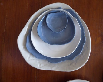 White platter, Blue platter, salad bowl, serving bowl, plate