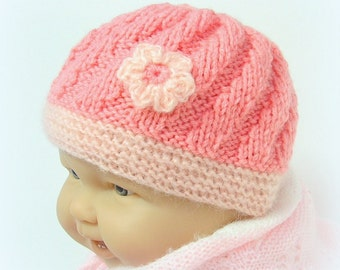 Hand knitted pink baby hat size 3  months Tricotmuse©