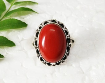 Attractive RED CORAL Gemstone Ring, Birthstone Ring, 925 Sterling Silver Ring, Fashion Handmade Ring, All Size, Gift Ring