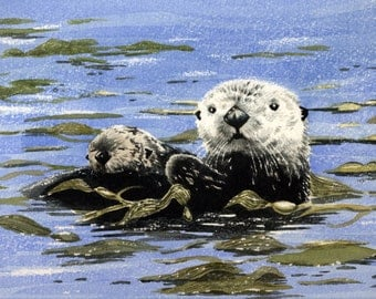 Sea Otter and Pup Art Print - Watercolor Painting - Signed by Artist DJ Rogers - Wildlife - Wall Decor