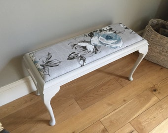 Vintage wooden painted dressing table stool
