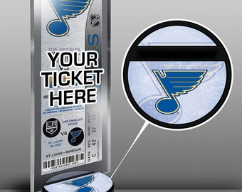 St Louis Blues Hockey Puck Ticket Display Stand - Team Logo or My First Game