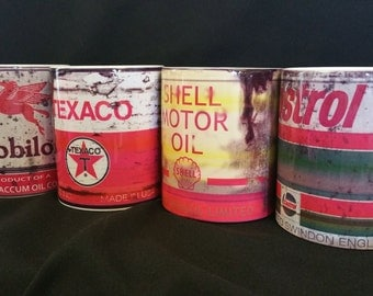 Oil Can Mugs - Set of 4