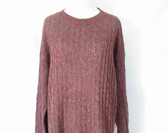 80's Oversize Sweater Cable Knit Slouchy Pullover Minimalist Boyfriend Fit Speckled Loose Knit Lightweight Jumper