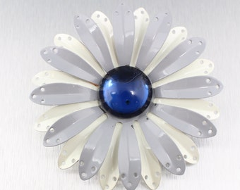 Vintage 1960's Blue, Gray & White Enamel Flower Power Pin Brooch