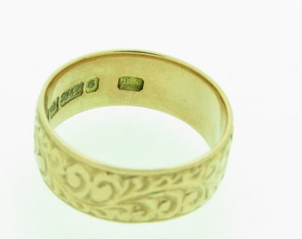 Hand Engraved 9ct Gold Wedding Ring - Hallmarked 1910 (SKU224)