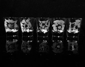 Pokemon Evolution Shot Glass (Choice of 1) -Pikachu -Ghastly -Charmander -Squirtle -Bulbasaur- Etched Shot Glass