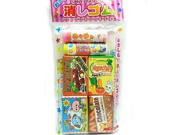 Japanese kawaii Eraser/  candy, chocolate, snack /6pcs