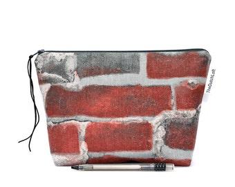 Stones zipper bag, Fun zipper pouch, Brick wall, Rustic pencil case, Makeup bag, Mens Boys bag, Stone wall, Masons Gadget, Cosmetic case