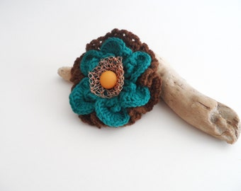 Flower Pin Brooch, Crochet Flower Brooch, Crochet Wool Boutonniere, Pin Crochet Flower, Vintage Brooch, Boho Flower Pin