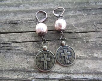 Baroque glass pearls earrings