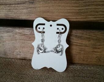 Cat lover earrings. Silver cat earrings