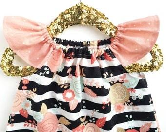 Girls Fall Outfit, Fall Clothing, Peach Dress, Gold Dress, Mint Dress, Toddler Dress, Baby Dress, Girls Dress, Floral Dress, Summer Dress