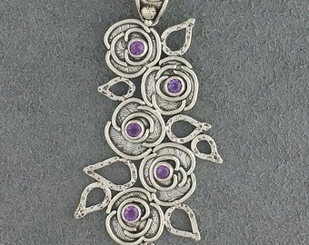 Rose Flower and Leaves Sterling Silver Pendant with Amethyst