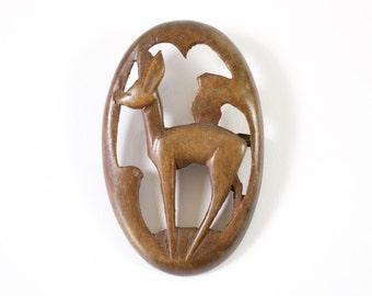 Vintage Art Deco hand carved wooden deer brooch, c.1930.