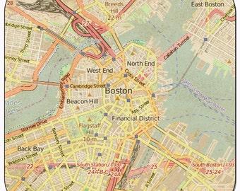 Boston 2 Vintage Map Coasters