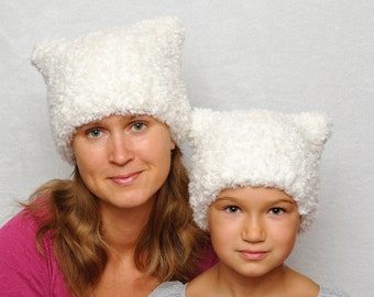 Mommy and me Pussyhat kids cats baby bear Cat hat kids hat matching mother daughter ear hat knit hats kids hats Winter hat for women white