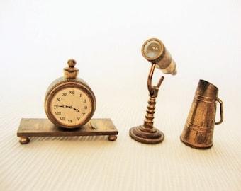 Vintage Three Miniature Brass Doll House Figurine-Telescope- Clock- Coal Scuttle