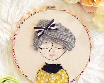 Embroidery hoop art granny