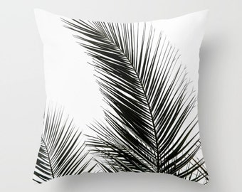 Black White Decorative Pillows  Indoor Throw Pillows  Pillow Cover  Sofa Pillow  Couch Pillow Decorative Pillow  Unique Pillow Plant Palm