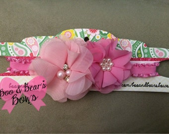 Double Chiffon flower headband