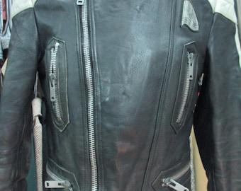 Giubbotto da moto anni 70 in vera pelle, bianco e nero/ 70s motorcycle black and white jacket/Real leather