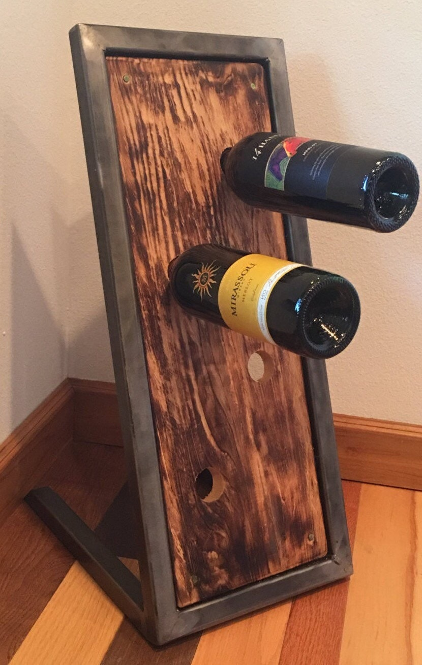 Wine rack floor standing industrial metal and wood wine rack for Floor wine rack