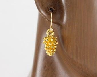 "Gold pinecone earrings gold dangle earrings dangly earrings nature inspired cute small pinecones 1"" long 3d pinecone pendant tree hugger"