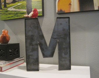 "12"" Raw Steel Metal Shelf or Wall Letter M-Rustic Vintage Inspired Industrial Metal Letter-A to Z Available-Wedding-Gift-Home-Metal Letter M"