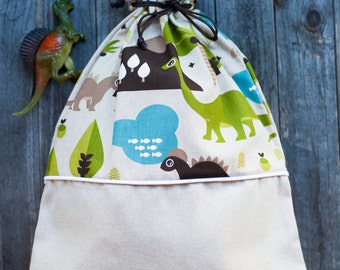 LOT-printed cotton BACKPACK with DINOSAURS. Perfect for the nursery