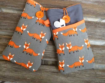 iPhone 7 sleeve, iPhone SE cover, Fox, iPhone 6 Fabric Case, iPhone 5 Pouch,  iPod Touch 6g case, iphone 7 Plus case, iphone case pocket
