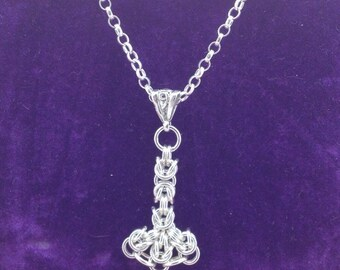 Sterling Silver Chainmaille Thors Hammer Pendant Necklace, Hallmarked.