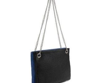 Leather Cross body Bag, Black Blue Leather Shoulder Bag, Women's Leather Crossbody Bag, Leather bag KF-578