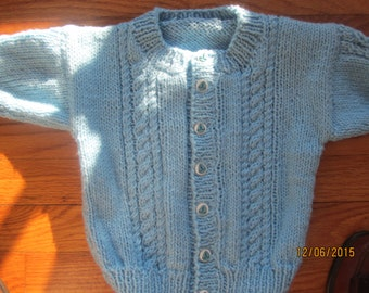 Babies/childs Handknit  Cardigan Sweater Size 2 years